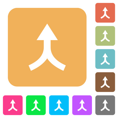 Merge arrows up flat icons on rounded square vivid color backgrounds. Illustration
