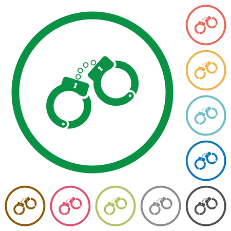 Handcuffs flat color icons in round outlines on white background Illustration