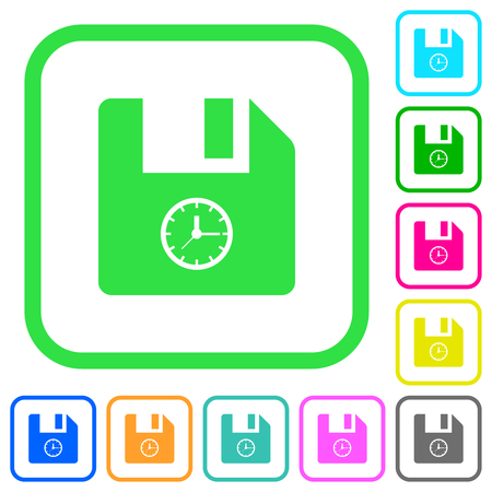 File time vivid colored flat icons in curved borders on white background Illustration