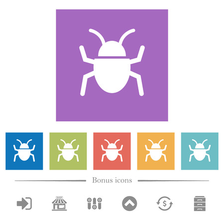 Bug flat white icons in square backgrounds. 6 bonus icons included. Illustration