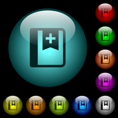 Bookmark icons in color illuminated spherical glass buttons on black background. Can be used to black or dark templates