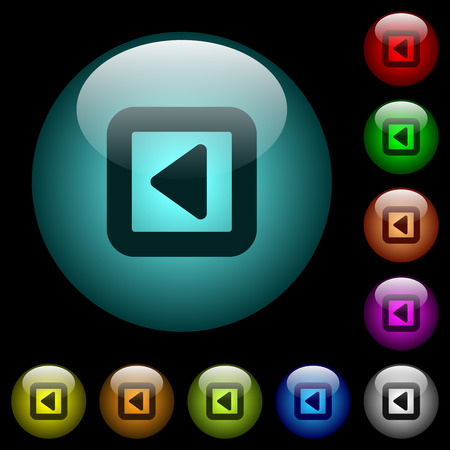 Toggle left icons in color illuminated spherical glass buttons on black background. Can be used to black or dark templates