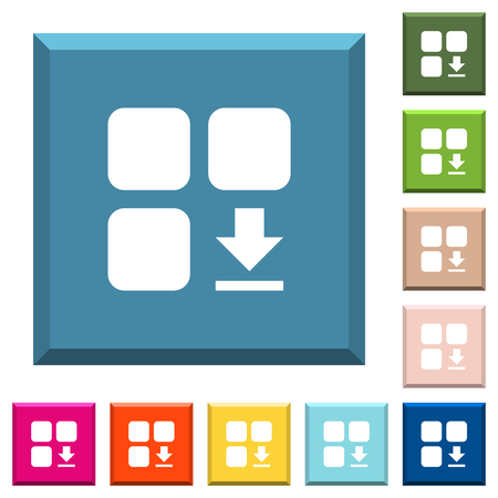 Download component white icons on edged square buttons in various trendy colors Illusztráció