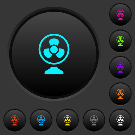 Table fan dark push buttons with vivid color icons on dark grey background