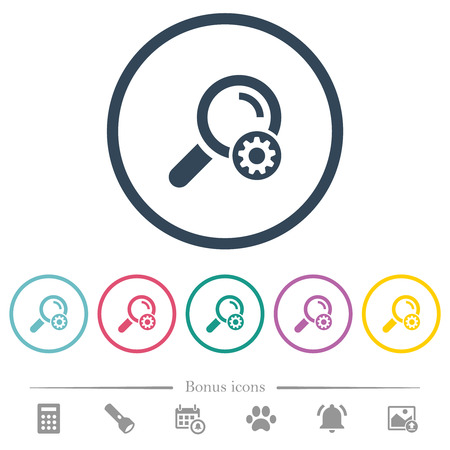 Search settings flat color icons in round outlines. 6 bonus icons included. Illustration
