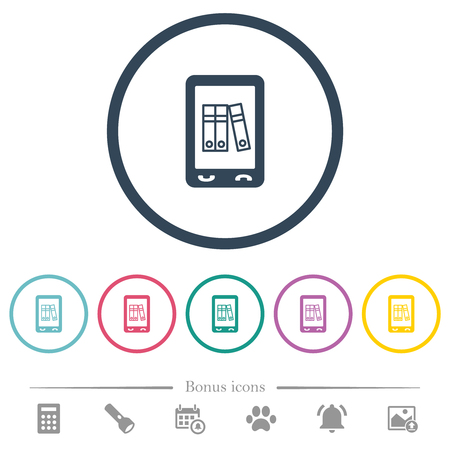 Mobile office flat color icons in round outlines. 6 bonus icons included. Illustration