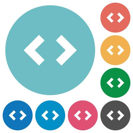 Script code flat white icons on round color backgrounds Foto de archivo - 112901203