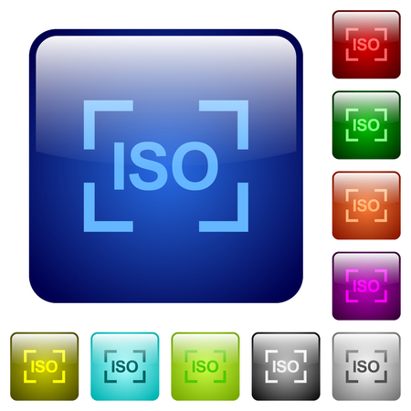 Camera iso speed setting icons in rounded square color glossy button set