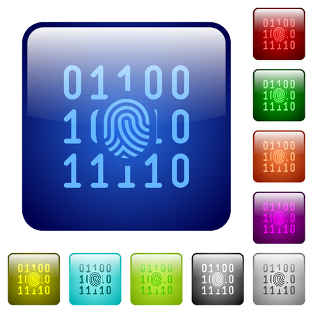Digital fingerprint icons in rounded square color glossy button set