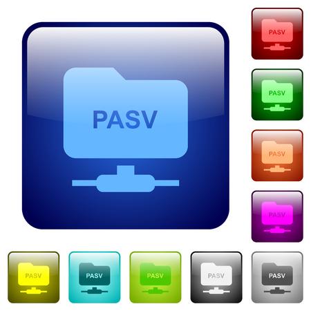 FTP enter passive mode icons in rounded square color glossy button set Illusztráció