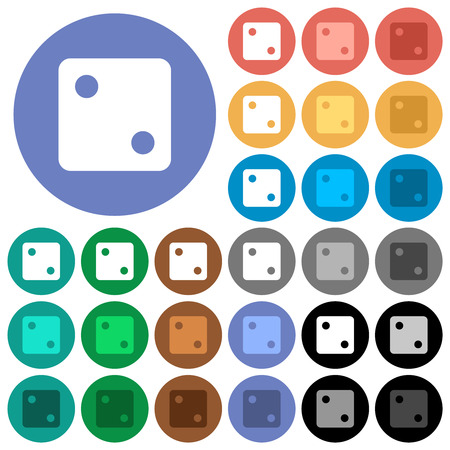 Dice two multi colored flat icons on round backgrounds. Included white, light and dark icon variations for hover and active status effects, and bonus shades.