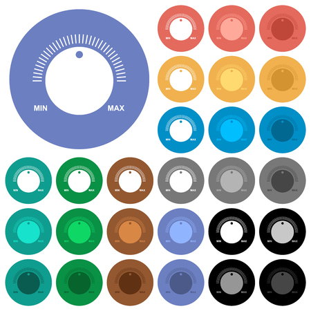 Volume control with captions multi colored flat icons on round backgrounds. Included white, light and dark icon variations for hover and active status effects, and bonus shades.