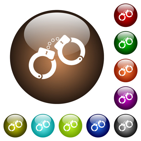 Handcuffs white icons on round color glass buttons Illustration