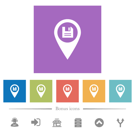 Save GPS map location flat white icons in square backgrounds. 6 bonus icons included. Ilustracja
