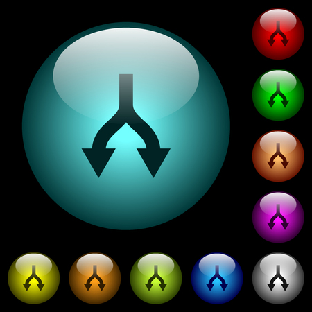 Split arrows down icons in color illuminated spherical glass buttons on black background. Can be used to black or dark templates