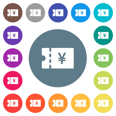 Japanese Yen discount coupon flat white icons on round color backgrounds. 17 background color variations are included.
