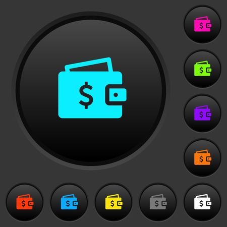 Dollar wallet dark push buttons with vivid color icons on dark grey background