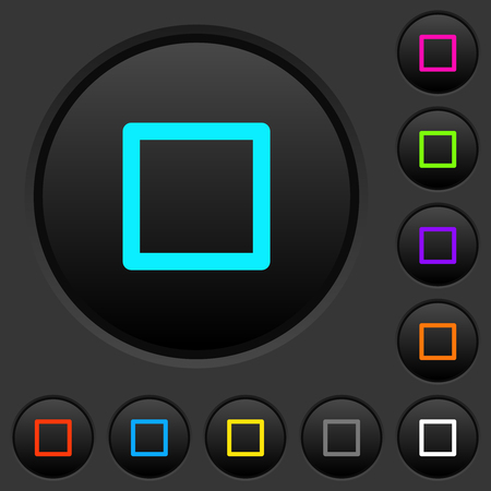 Media stop dark push buttons with vivid color icons on dark grey background Illustration