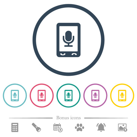 Mobile recording flat color icons in round outlines. 6 bonus icons included. Illustration