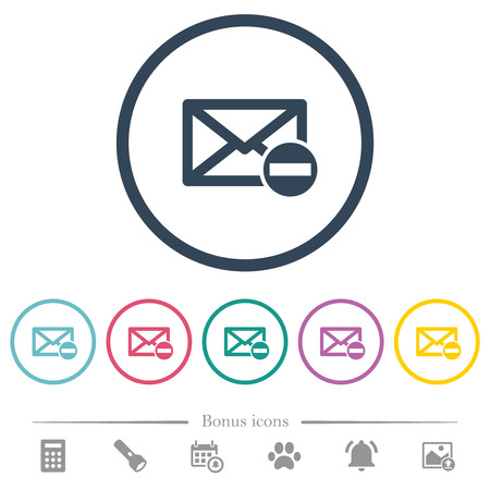 Remove mail flat color icons in round outlines. 6 bonus icons included.