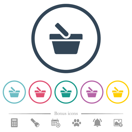 Shopping basket flat color icons in round outlines. 6 bonus icons included.