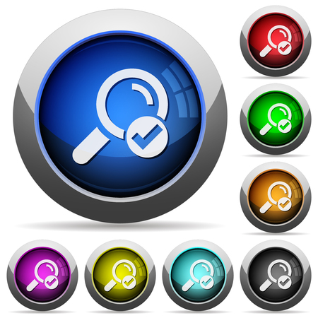 Search done icons in round glossy buttons with steel frames Çizim
