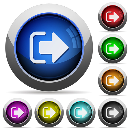 Sign out icons in round glossy buttons with steel frames Vecteurs