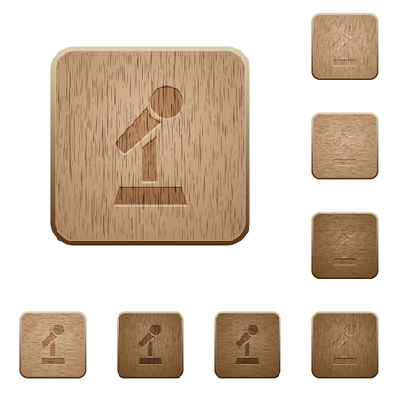 Microphone with stand on rounded square carved wooden button styles Фото со стока - 127223811