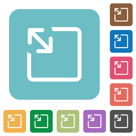 Resize object white flat icons on color rounded square backgrounds Иллюстрация