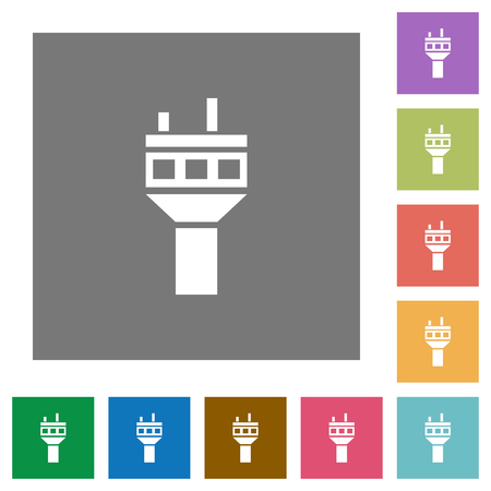 Air control tower flat icons on simple color square backgrounds