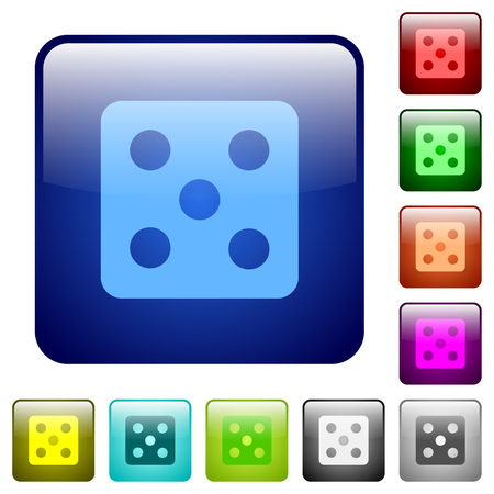 Dice five icons in rounded square color glossy button set