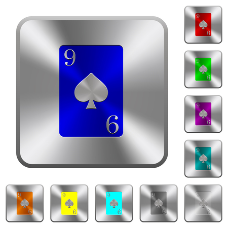 Nine of spades card engraved icons on rounded square glossy steel buttons