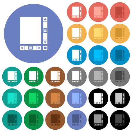 Blank document with scroll bars multi colored flat icons on round backgrounds. Included white, light and dark icon variations for hover and active status effects, and bonus shades.