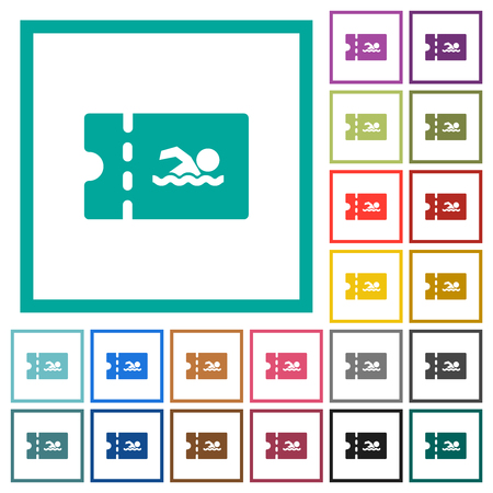 Swimming pool discount coupon flat color icons with quadrant frames on white background Illustration