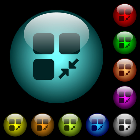 Reduce component icons in color illuminated spherical glass buttons on black background. Can be used to black or dark templates