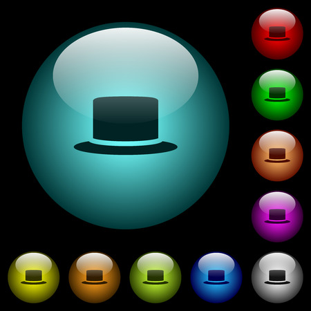 Silk hat icons in color illuminated spherical glass buttons on black background. Can be used to black or dark templates