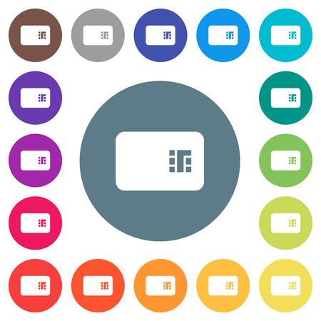Chip card flat white icons on round color backgrounds. 17 background color variations are included.