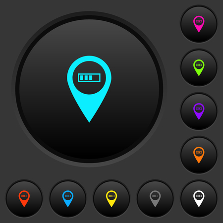 Route planning GPS dark push buttons with vivid color icons on dark grey background