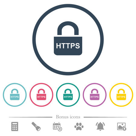 Secure http protocol flat color icons in round outlines. 6 bonus icons included.