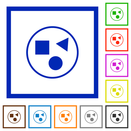 Grouping elements flat color icons in square frames on white background