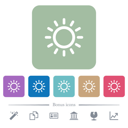 Brightness control white flat icons on color rounded square backgrounds. 6 bonus icons included