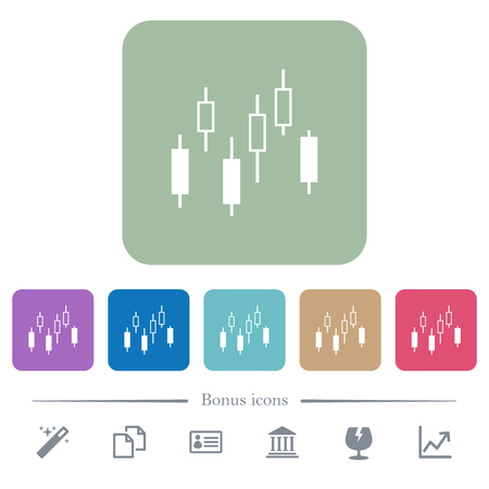 Candlestick chart white flat icons on color rounded square backgrounds. 6 bonus icons included