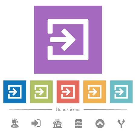 Import with inside arrow flat white icons in square backgrounds. 6 bonus icons included. Vettoriali