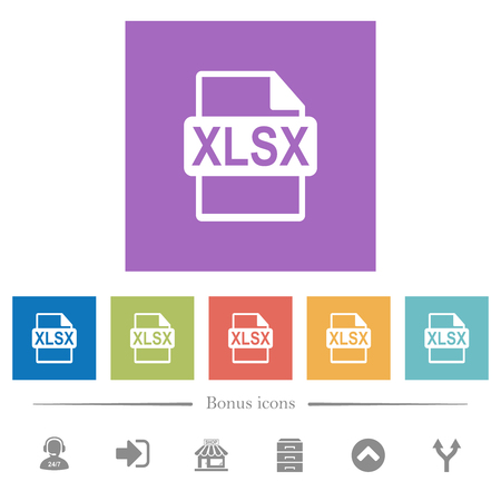 XLSX file format flat white icons in square backgrounds. 6 bonus icons included.