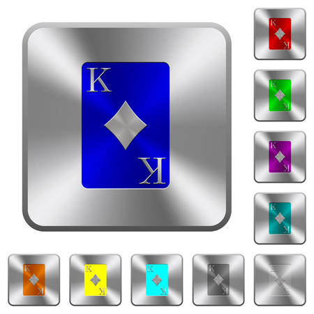 King of diamonds card engraved icons on rounded square glossy steel buttons Illustration