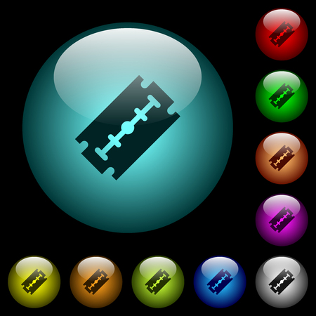 Razor blade icons in color illuminated spherical glass buttons on black background. Can be used to black or dark templates