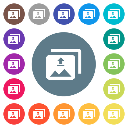 Upload multiple images flat white icons on round color backgrounds. 17 background color variations are included. 向量圖像