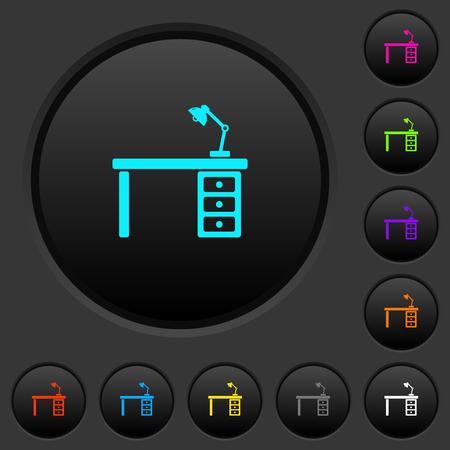 Bureau avec des boutons-poussoirs sombres de la lampe avec des icônes de couleurs vives sur fond gris foncé
