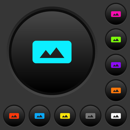 Panorama picture dark push buttons with vivid color icons on dark grey background Vectores