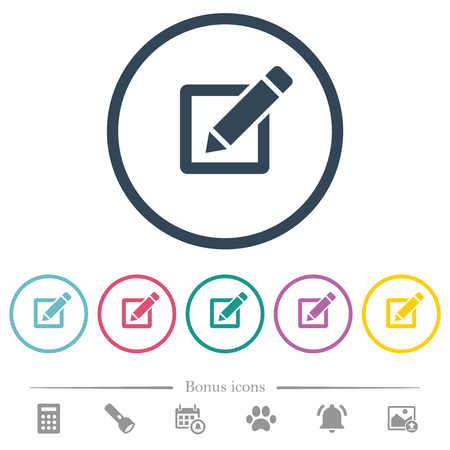 Editing box with pencil flat color icons in round outlines. 6 bonus icons included.